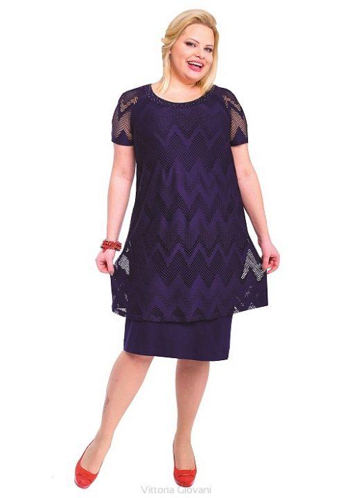 Modna sukienka z narzutką ubrania plus size granatowa