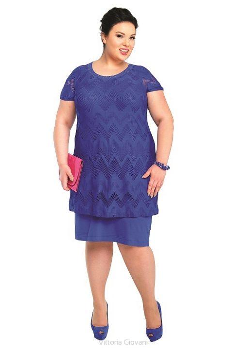 Modna sukienka z narzutką moda xxl niebieska