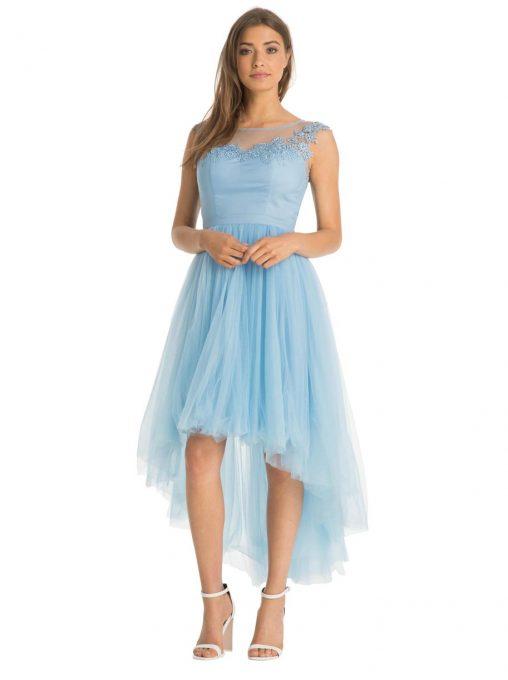 Asymetryczna balowa sukienka z przodu krótka z tyłu długa