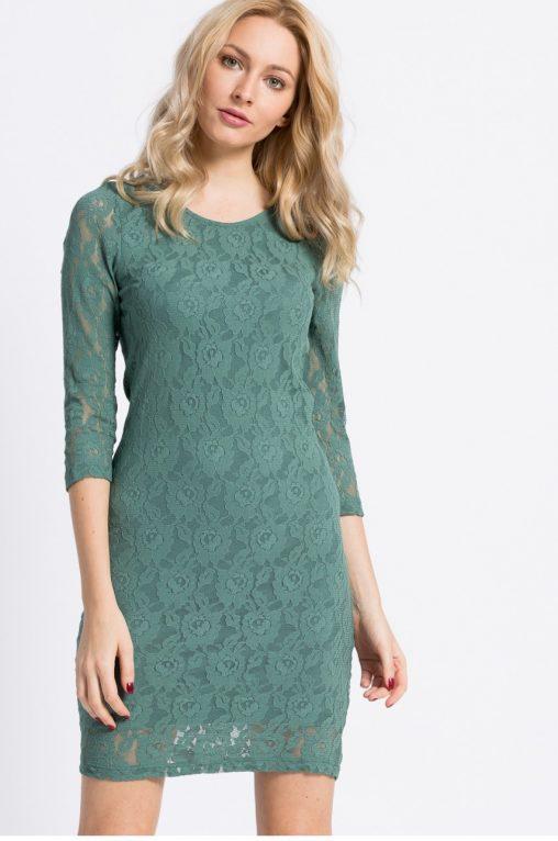 Elegancka sukienka koronkowa mini zielona