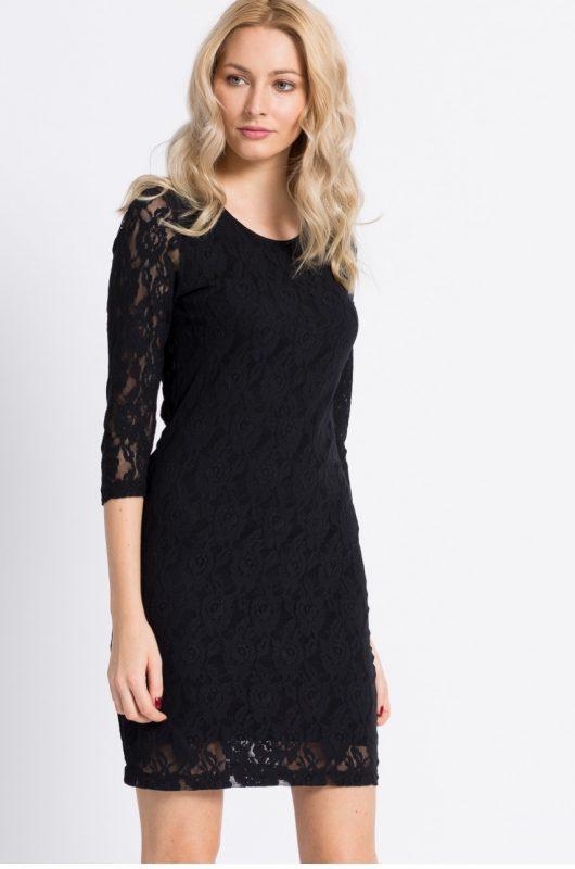 Elegancka czarna sukienka koronkowa mini