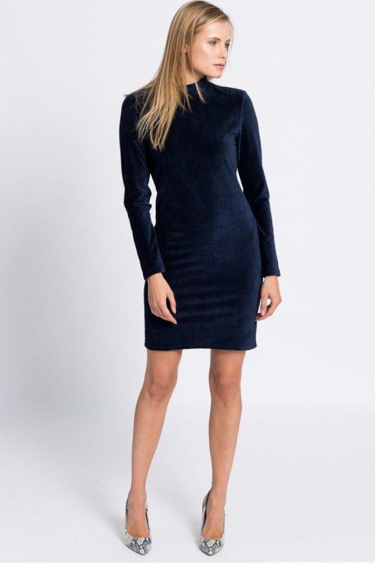 Elegancka sukienka welurowa z długim rękawem granatowa