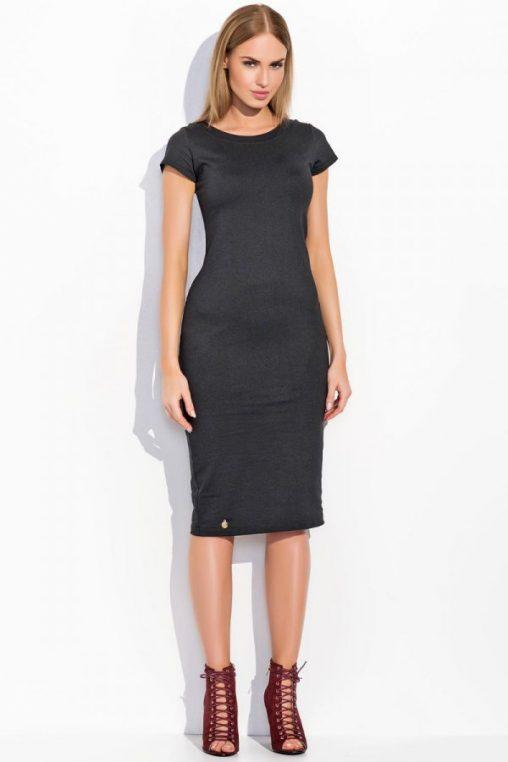 Dresowa sukienka midi klasyczny krój krótki rękaw czarna