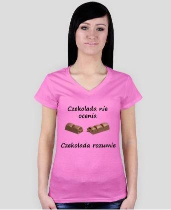 Damskie koszulki z napisem czekolada nie ocenia