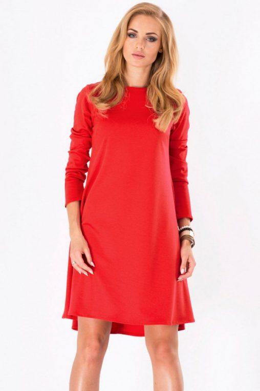 Czerwona trapezowa sukienka z wydłużonym tyłem