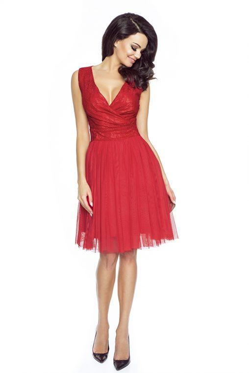 Koktajlowa sukienka z tiulu i koronki czerwona