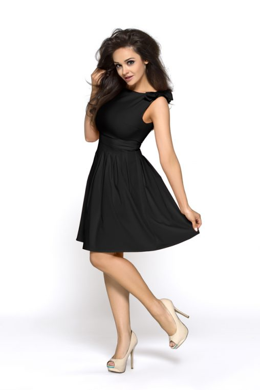 Czarna rozkloszowana sukienka z kokardkami na ramionach