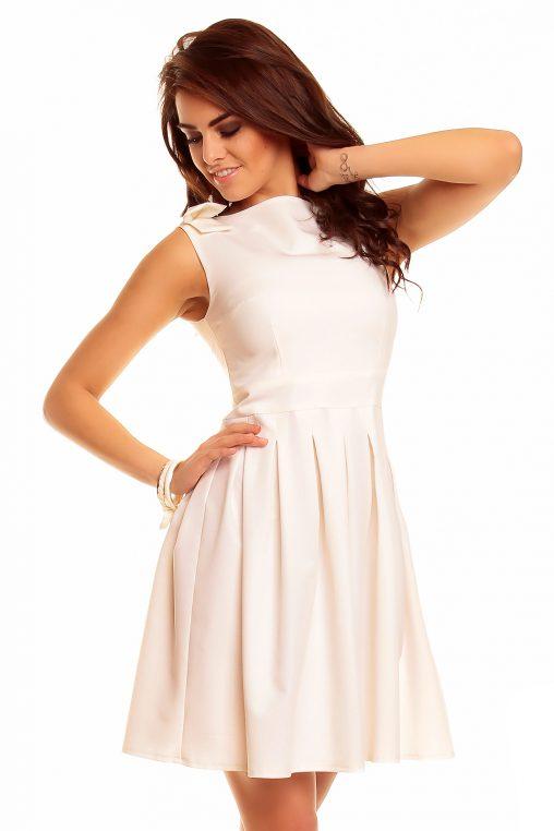 Kremowa rozkloszowana sukienka z kokardkami na ramionach