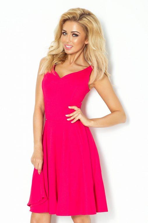 Różowa rozkloszowana sukienka do kolan