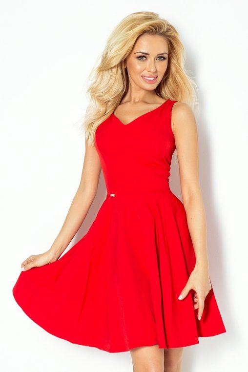 Czerwona rozkloszowana sukienka do kolan