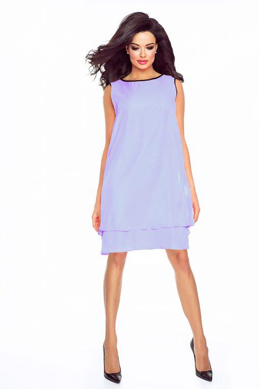 Letnia sukienka asymetryczna z szyfonu bez rękawów wrzosowa