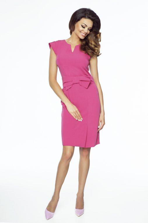Różowa elegancka sukienka z kokardką