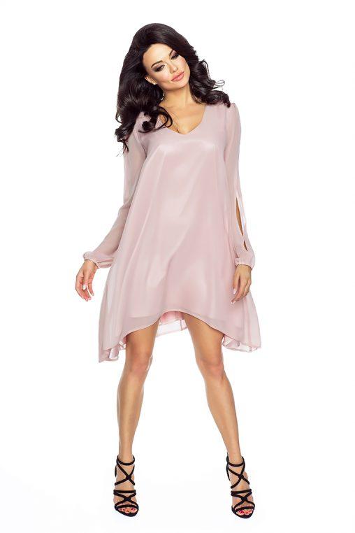 Letnia luźna sukienka asymetryczna z szyfonu długi rękaw