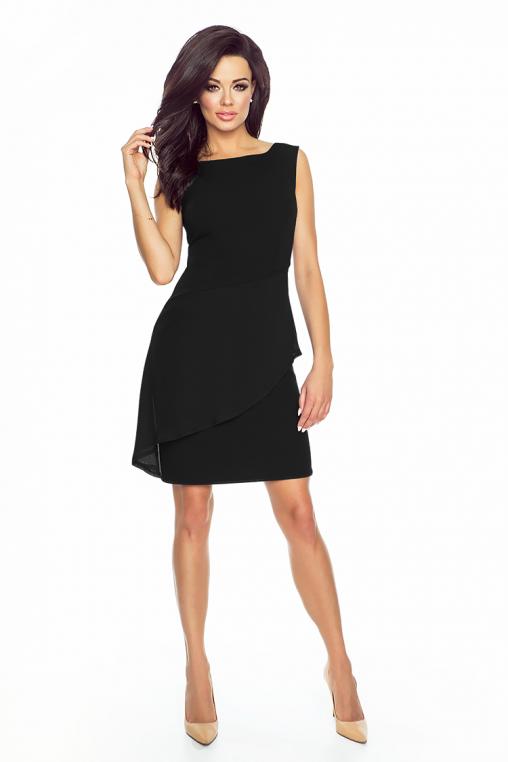Elegancka asymetryczna czarna sukienka z baskinką