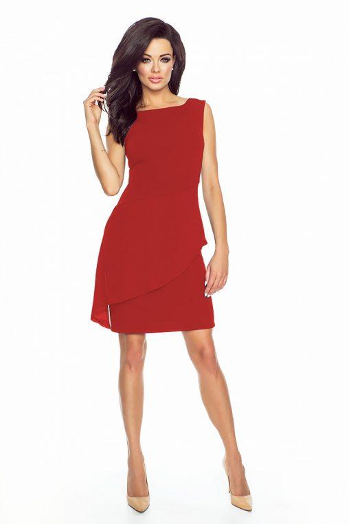 Elegancka asymetryczna sukienka z baskinką czerwona