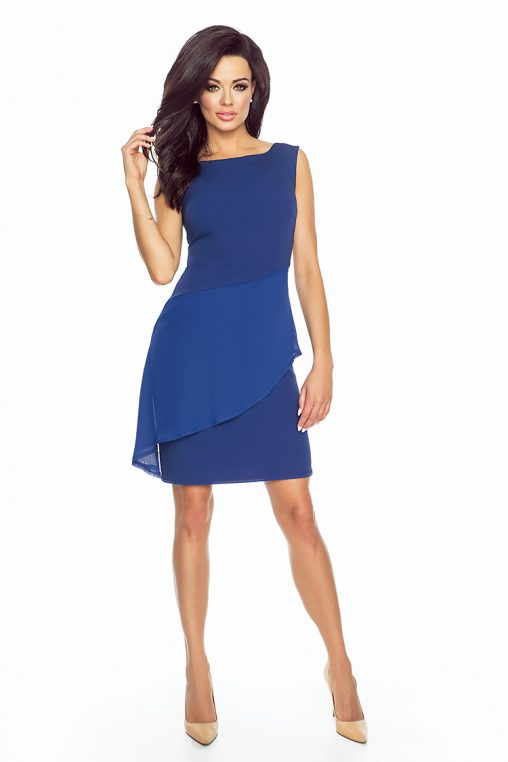 Elegancka asymetryczna sukienka z baskinką niebieska