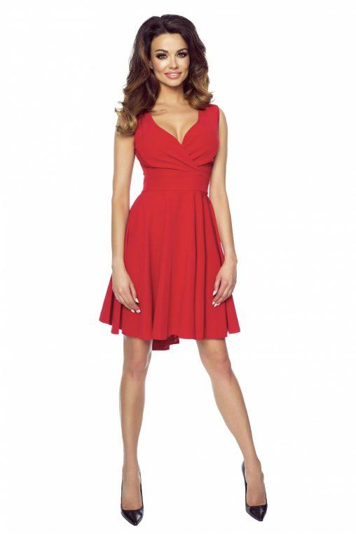 Asymetryczna sukienka koktajlowa z dłuższym tyłem czerwona