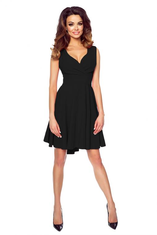 Asymetryczna sukienka z dłuższym tyłem koktajlowa czarna