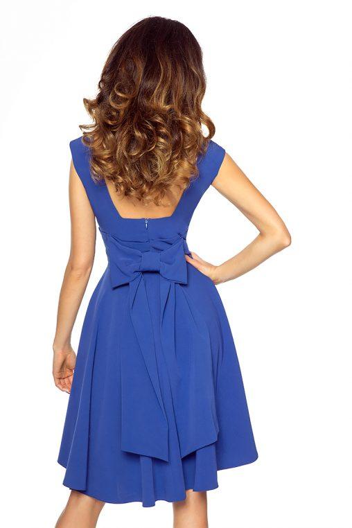 Asymetryczna sukienka z kokardą niebieska