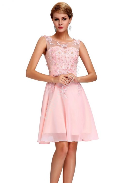 Balowa szyfonowa sukienka z perełkami koktajlowa różowa