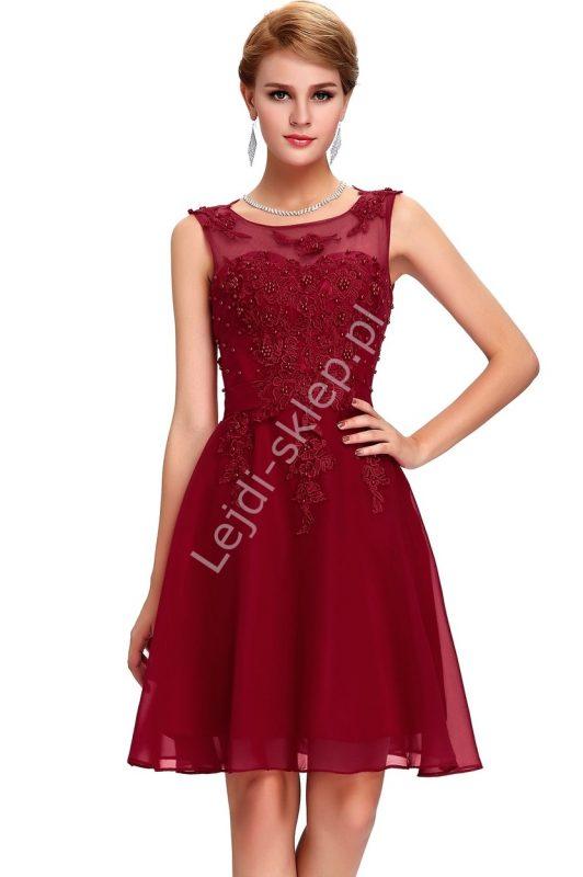Balowa szyfonowa sukienka koktajlowa z perełkami bordowa