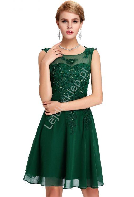 Balowa szyfonowa sukienka z perełkami koktajlowa zielona