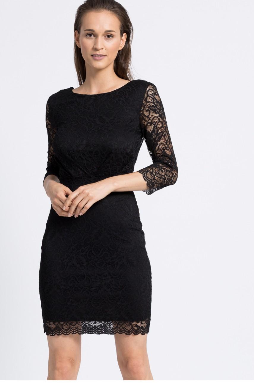 Modna sukienka z koronki odkryte plecy czarna