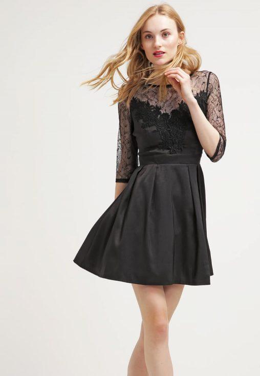 Wieczorowa sukienka z koronką na wesele czarna