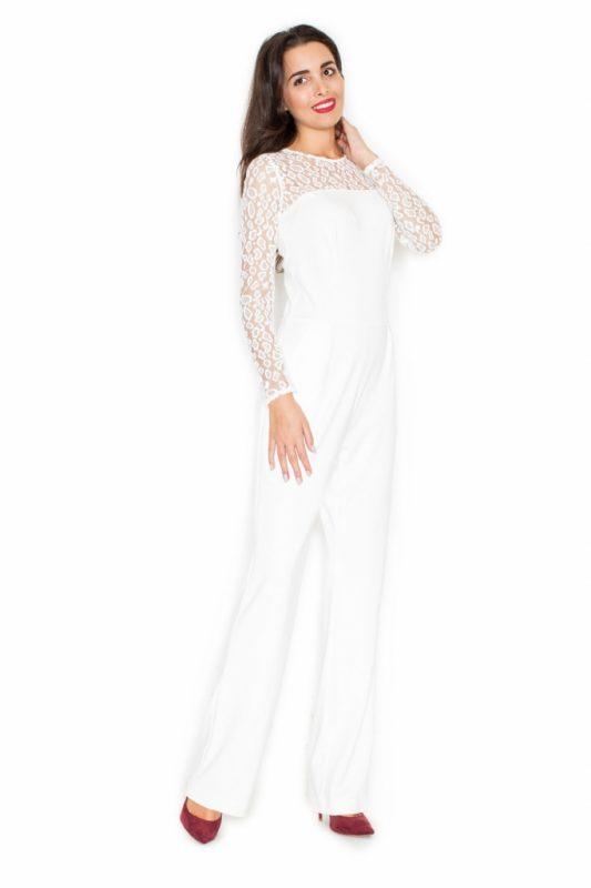 Luźny elegancki kombinezon na wesele z koronką kremowy