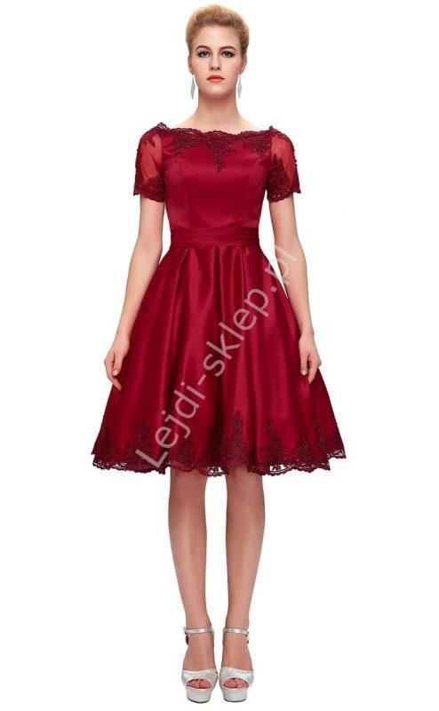 Piękna wieczorowa sukienka wizytowa bordowa