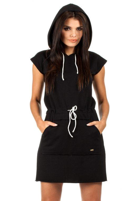 Czarna sukienka dresowa z kapturem letnie sukienki sportowe
