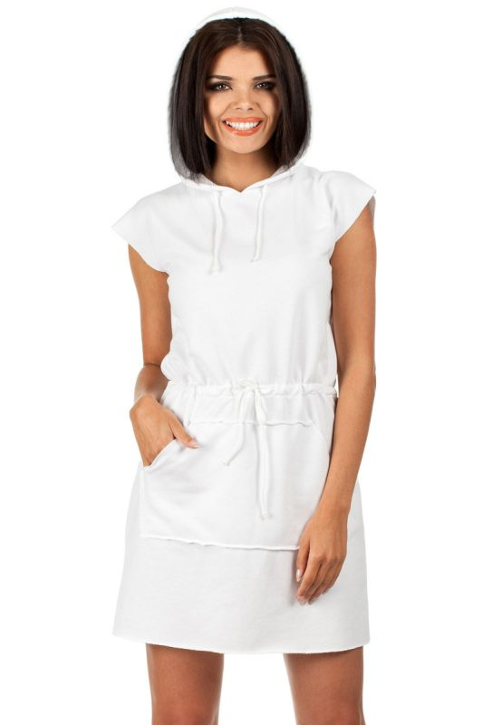 Biała sukienka dresowa z kapturem letnie sukienki sportowe
