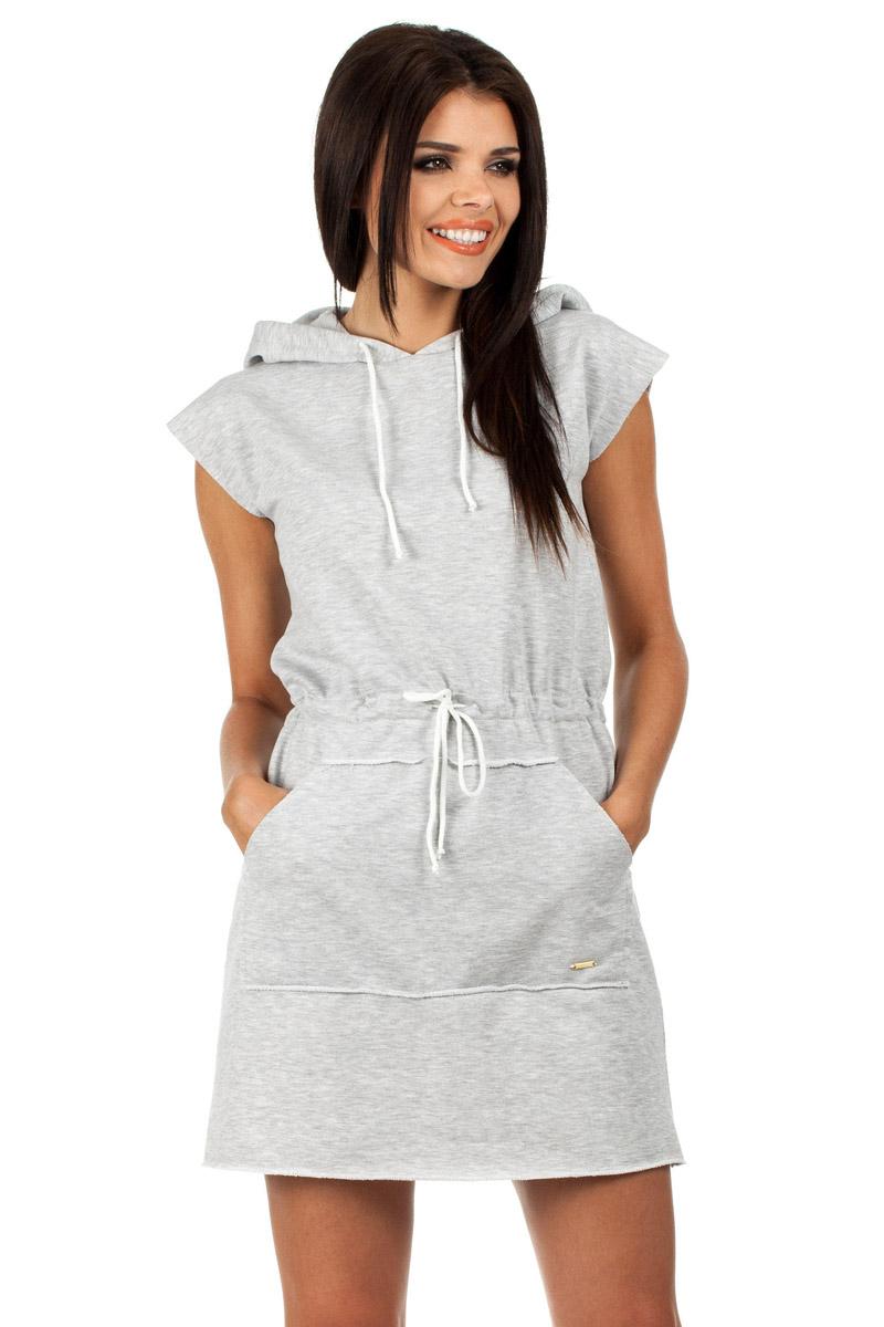 Szara sukienka dresowa z kapturem letnie sukienki sportowe