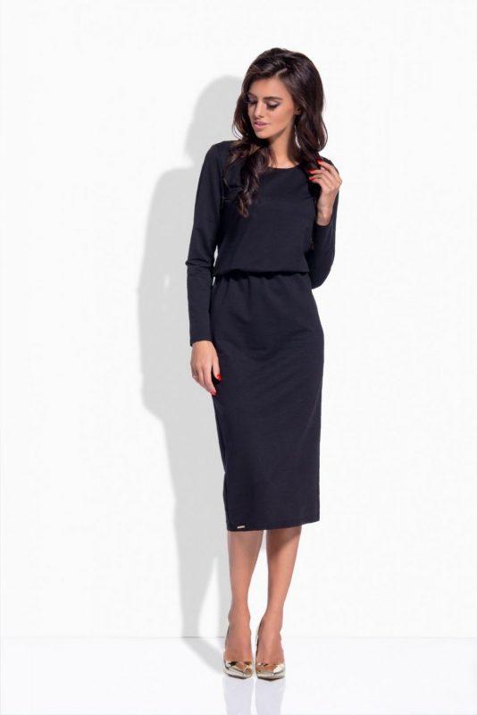Luźne sukienki z długim rękawem czarna