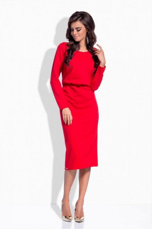 Luźne sukienki na długi rękaw czerwona