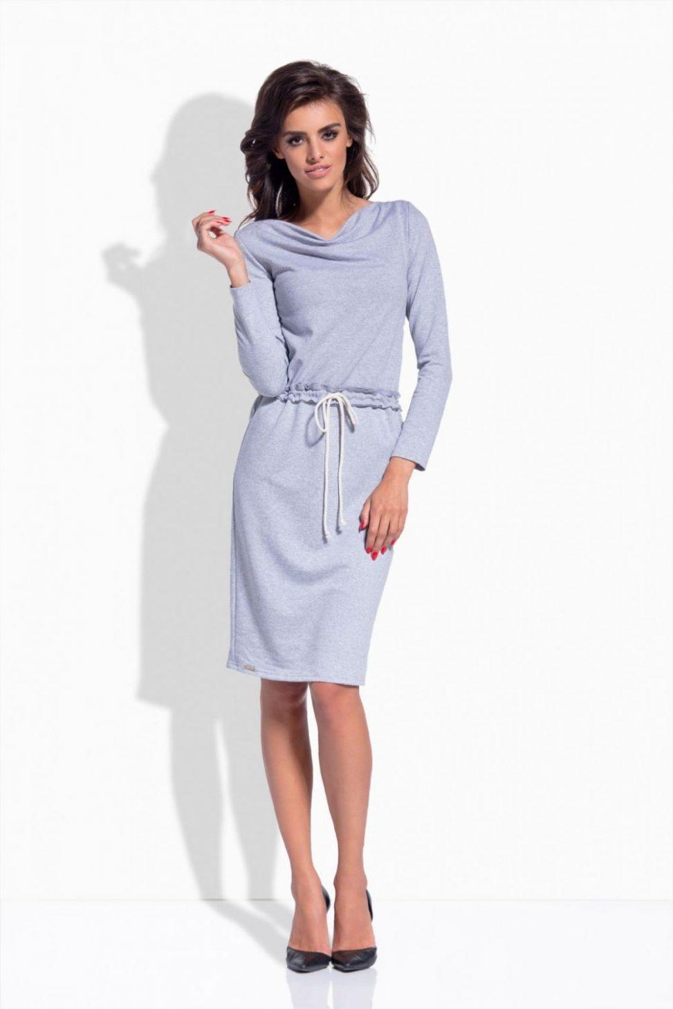 Szara sukienka dresowa z długim rękawem