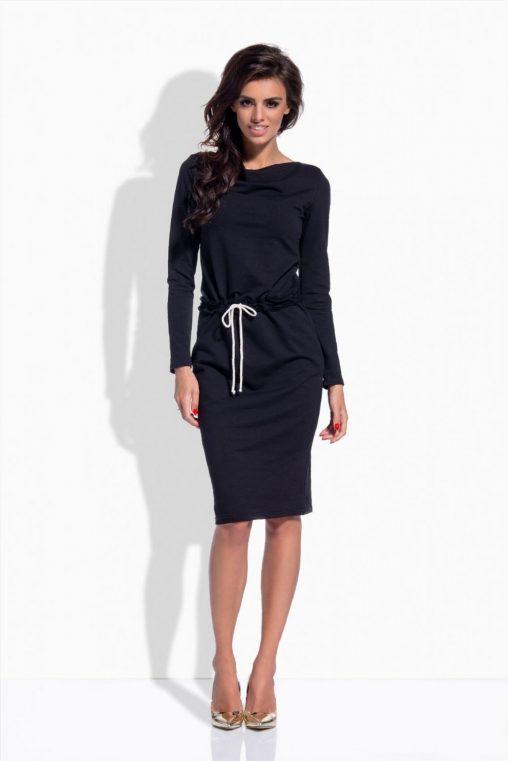 Czarna sukienka dresowa z długim rękawem