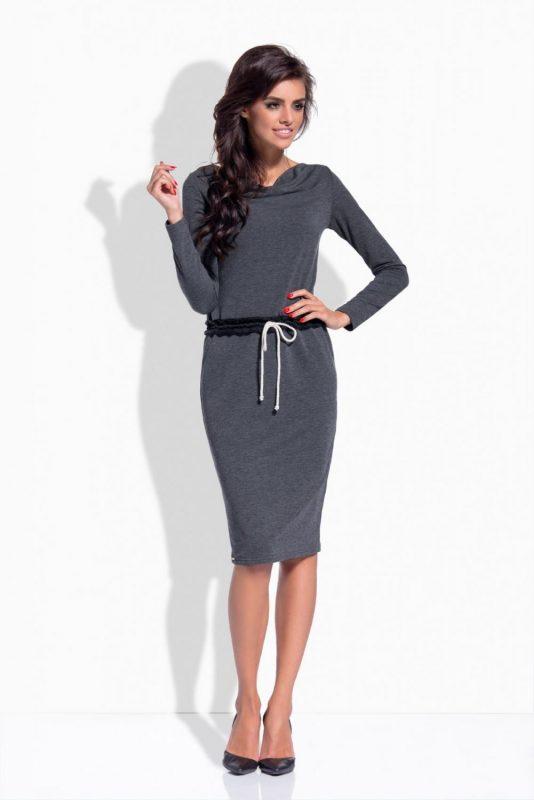 Grafitowa sukienka dresowa z długim rękawem