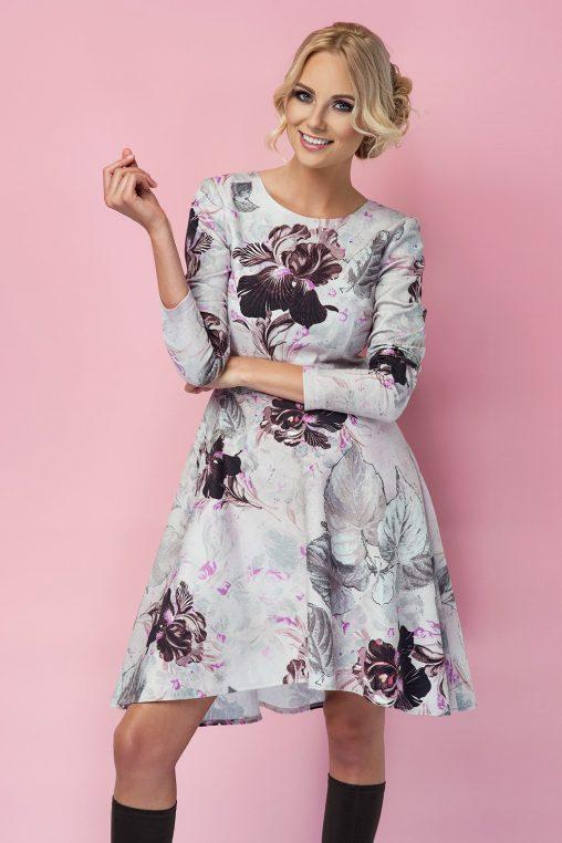 Sukienki z bawełny - rozkloszowana sukienka z długim rękawem