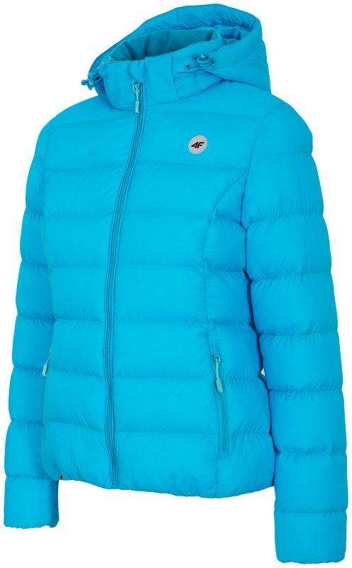 Puchowa kurtka damska z kapturem niebieska