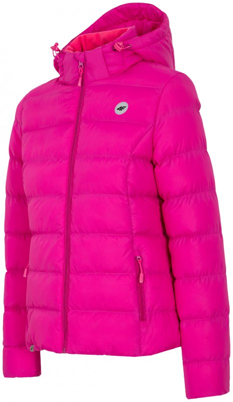 Puchowa kurtka damska z kapturem różowa