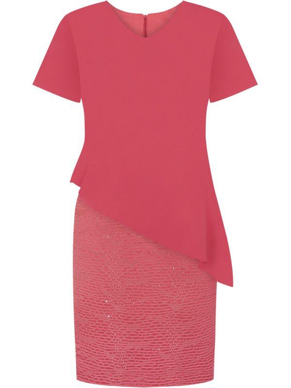 Eleganckie wizytowe sukienki na wesele koralowa