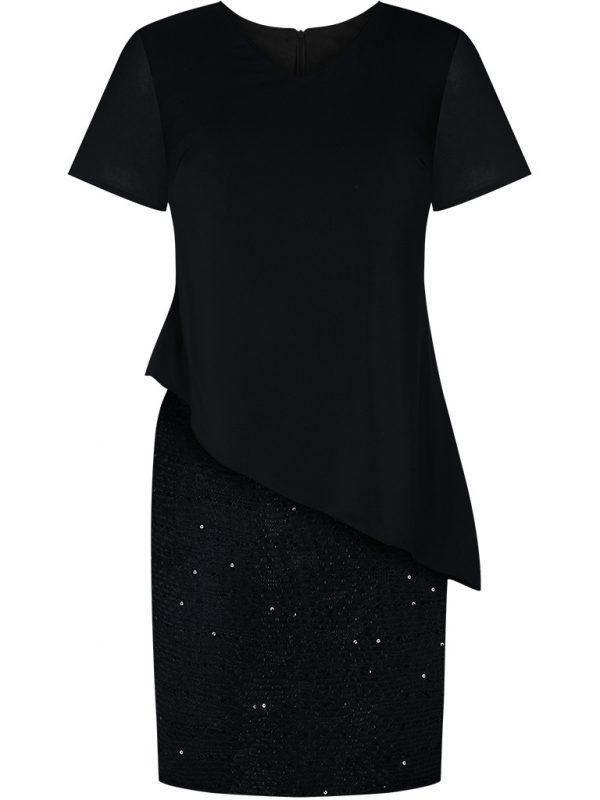 Eleganckie wizytowe sukienki na wesele czarna