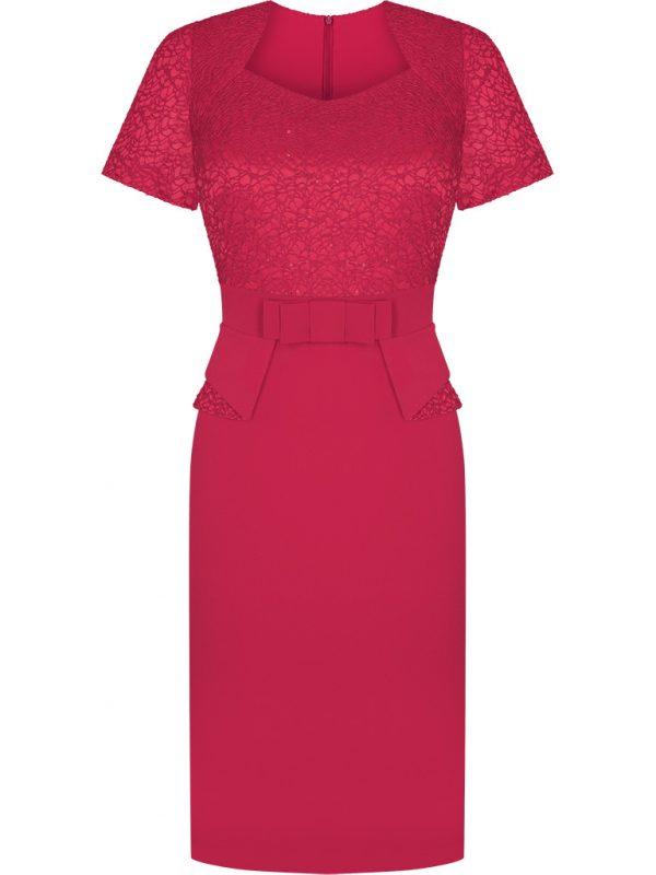 Wieczorowe kreacje na wesele, elegancka sukienka z baskinką czerwona