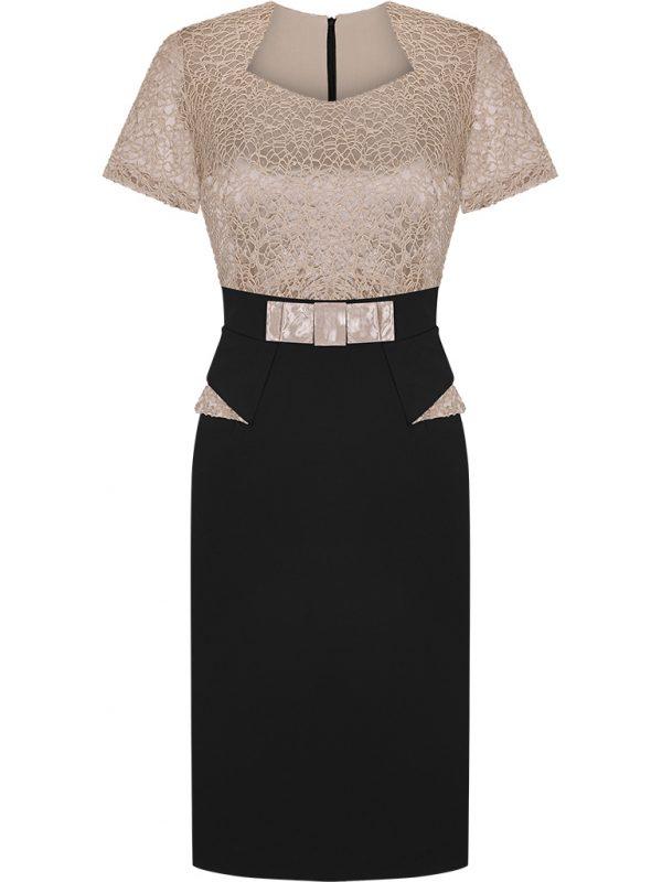 Kreacje wieczorowe na wesele, elegancka sukienka z baskinką czarno złota