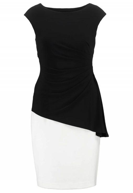 Elegancka biało czarna sukienka z falbanką