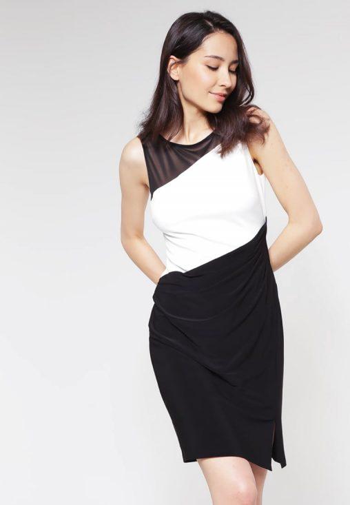 Elegancka czarno biała sukienka z siateczką