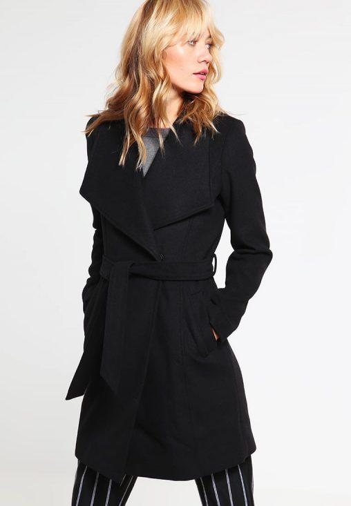 Damski czarny płaszcz jesienny wiązany w pasie