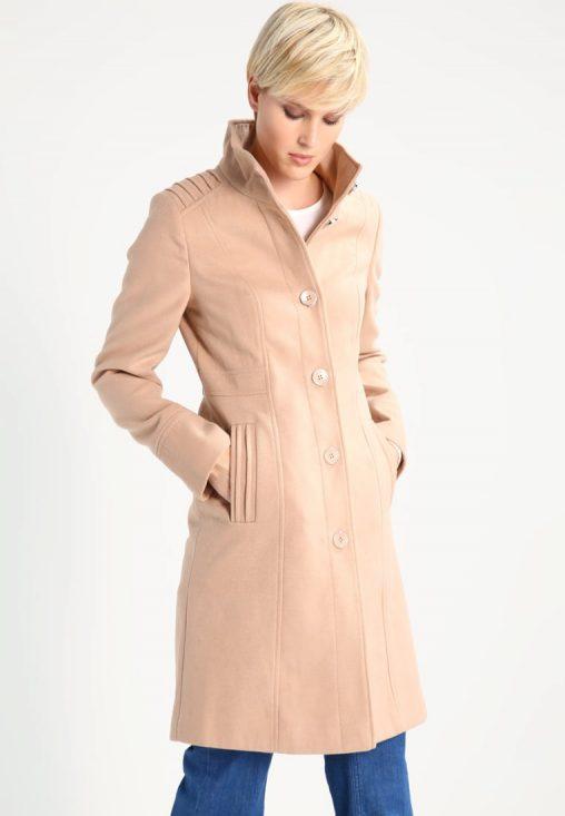 Damski brązowy płaszcz jesienny ze stójką