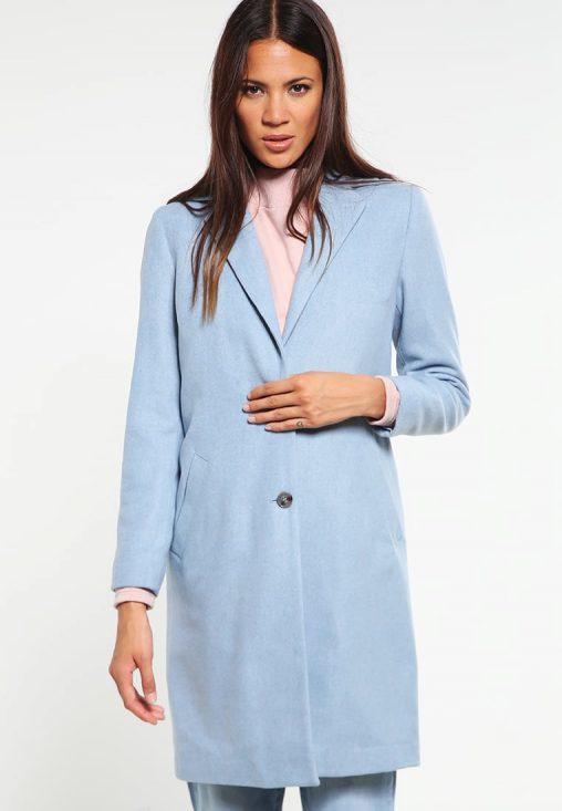 Damski klasyczny niebieski płaszcz jesienny
